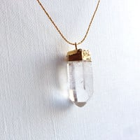 Raw Crystal Quartz Point Necklace, Dainty Gold Pendant Necklace