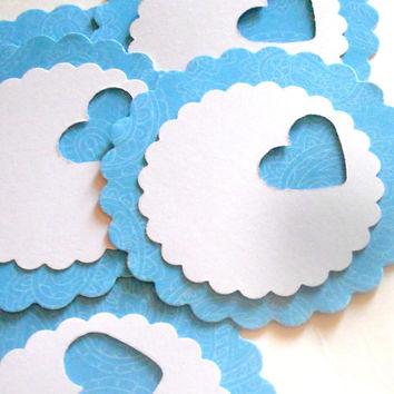 18 Adhesive Labels - 2inch Scallop Circle, Blue Paisley, Heart Punched, Gift Tags, Baby Shower Favors, Mason Jar Labels, Cupcake Toppers