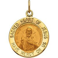 Genuine IceCarats Designer Jewelry Gift 14K Yellow Gold Sacred Heart Of Jesus Medal. 15.00 Mm Sacred Heart Of Jesus Medal In 14K Yellow Gold
