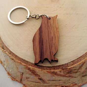 Simple Wooden OWL keychain-Walnut!