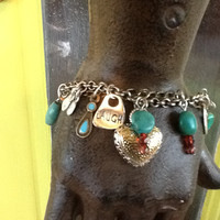 Identity Crisis Bracelet....Turquoise beaded plus Chain with charms