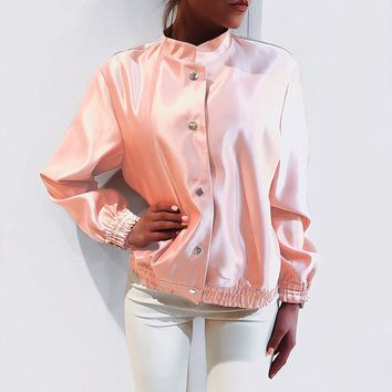 Women Good Quality Pink Fall Winter Jacket [11898784015]