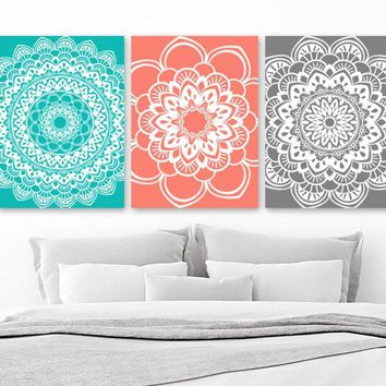 Mandala Wall Art, Coral Gray BATHROOM Decor Canvas or Prints Turquoise Coral Gray Medallion Wall Art, Bedroom Wall Art, Set of 3 Pictures