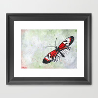 Papillon rouge et blanc / Red and white Butterfly Framed Art Print by Savousepate