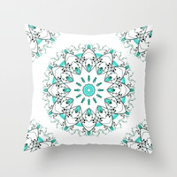 Turquoise Floral Mandala Throw Pillow by Nika In Wonderland