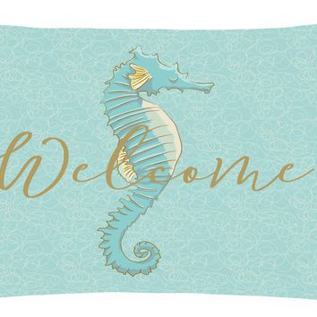 Seahorse Welcome Canvas Fabric Decorative Pillow BB8547PW1216