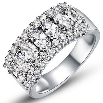Sterling Silver 925 Women's CZ Princess Cut Pave Eternity Wedding Band Ring 6-9
