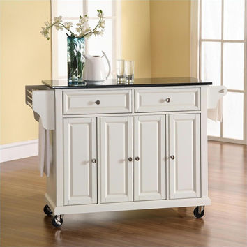 Solid Black Granite Top Kitchen Cart / Island in White with Locking Casters