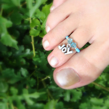 Toe Ring - Joy - Charm - Aquamarine Crystal - Stretch Bead Toe Ring