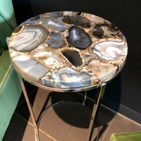 Natural Agate Table, Agate Round Side Table, Semi-Precious Stone Furniture
