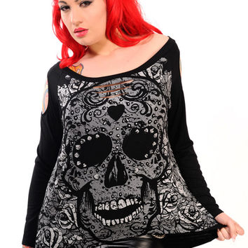 Gothic Emo Darkness Skull & Rose slouchy wideneck Oversized Long Sleeve Top