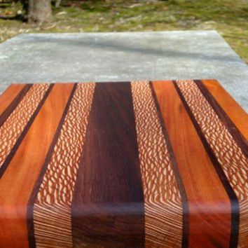 Handmade Large Cutting Board - The Mega - Black Walnut, Mahogany, Lacewood