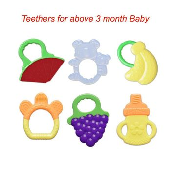 Baby Teethers Silicone Teething Toys BPA Free Banana Teether for Baby Teeth Dentition Ring Fruits Teething Ring