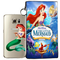 Disney's Little Mermaid Ariel Jelly Clear Case For Samsung Galaxy S7 EDGE + Pouch