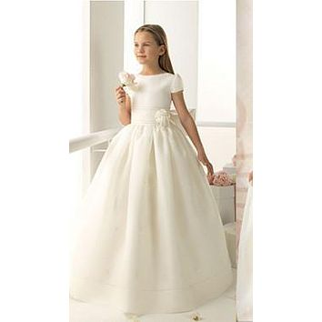 2017 fashion lace first communion dress vintage scoop neckline long noble WHITE ivory lace flower girl dresses