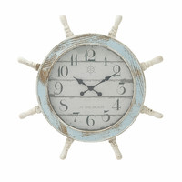 "Benzara Nautical Wood Anchor Wall Clock Decor 28""D"
