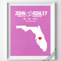 Customized, Print, Florida, Wedding, Anniversary, Couple, Personalized, Gift, Map, Custom, Wall Art, Home Decor, Marriage, Love [NO 8]