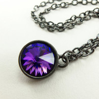 Blue Purple Crystal Necklace Multi Color Crystal Jewelry Circle Necklace Gunmetal Rivoli