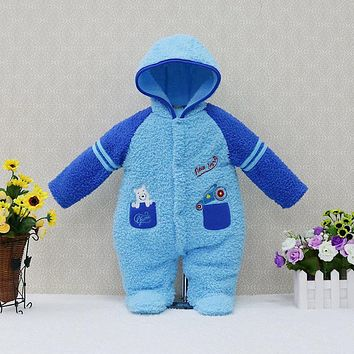 2018 Winter Newborn Coral Fleece One-Pieces Rompers Baby Clothing Girls Hoodie Fluffy Boys Clothes Toddler Warm Sleepwear