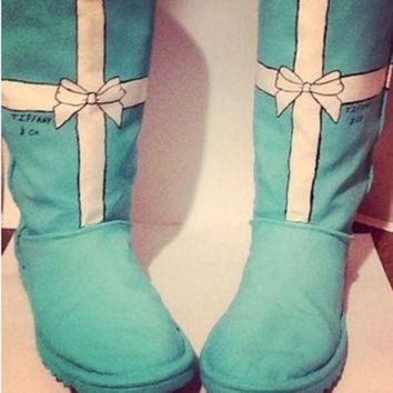 CREY1O Hand painted Tiffany co ugg Swarovski Tiffany blue boots flats toms