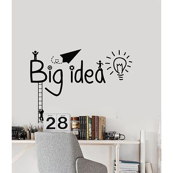 Vinyl Wall Decal Big Idea Workplace Office Work Bulb Stairs Stickers Mural (g3326)