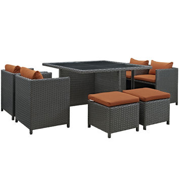 Sojourn 9 Piece Outdoor Patio Glass Top Dining Set Sunbrella Canvas Tuscan