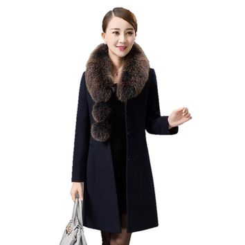 Free shipping mother Women Winter Wool Coat Big fur collar thick Medium long Woolen cloth Parka Fashion Leisure Female Outerwear