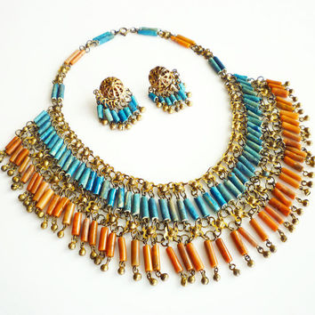 Egyptian Revival Necklace Earrings Faience Mummy Bead Coral Turquoise Vintage Jewelry