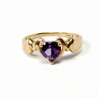 Amethyst Ring, 10K Gold, Size 9, Amethyst Heart, Yellow Gold, Vintage Jewelry, February Birthstone, Heart Ring, Estate Jewelry, Ladies Ring