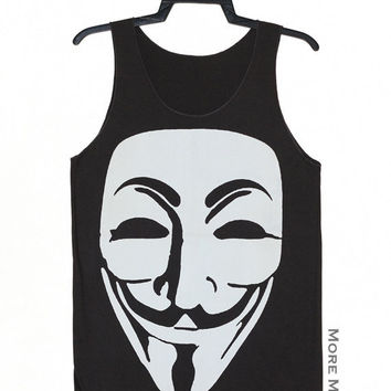 Guy Fawkes V For Vendetta Anonymous Mask Shirt Charocal Black Indie Tank Top Punk Vest Tunic Singlet Sleeveless Women Rock T-Shirt Size S-M