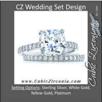 CZ Wedding Set, Style 1356 feat The Tien Engagement Ring (2 CT Cushion Cut Tiffany Novo Replica)