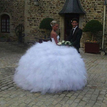 2014 New Ruffles Sexy Beaded Tulle Ball Gown Princess Wedding Dresses Bridal Gowns Size 2 4 6 8 10 12 14 16 18 20 ++ Custom W402