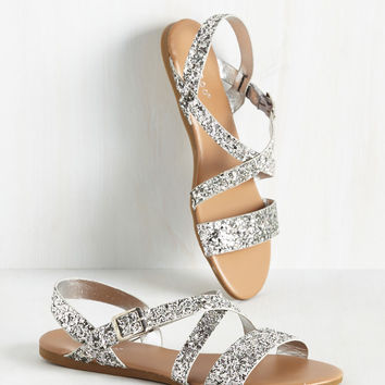 Strut, Look, and Glisten Sandal in Silver | Mod Retro Vintage Sandals | ModCloth.com