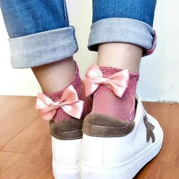 Fashion Women Men Fresh Bow Sock Transparent stockings Pink