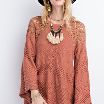 Traveling Lace Crochet Cinnamon Knit Sweater