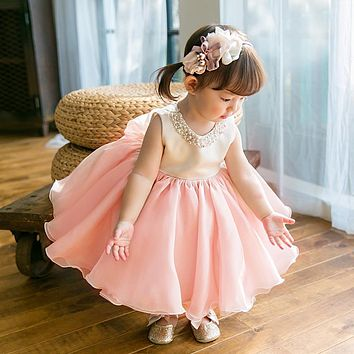 High Quality Baby Girl Dress Pink Chiffon Baptism Dress for Girl Infant 1 Year Birthday Dress for Christening Gowns 6-24M