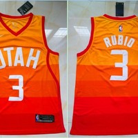 Utah Jazz #3 Ricky Rubio Orange Swingman Jersey