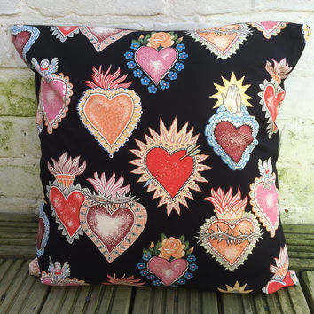 Corazon Tattoo Hearts Cushion Cover (Alexander Henry fabric)