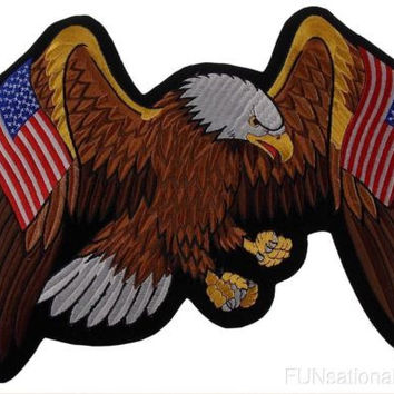 USA Flag Flying Eagle Patch Embroidered American Motorcycle Military Patriotic