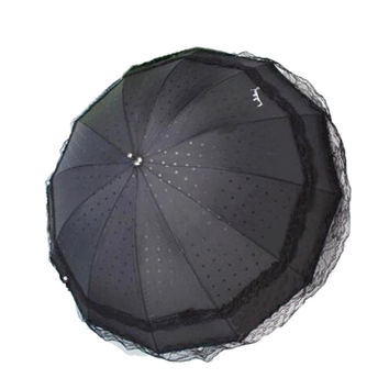 Lolita Double-layer Lace Sunscreen Umbrella Long Ultraviolet-proof  black