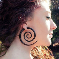 Fake Gauges XL Double Spirals Brown Wood Earrings by TribalStyle
