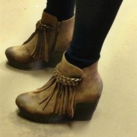 East Of Eden Wedge Booties