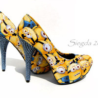 One in a Minion with Swarovski crystal Heels -Minions-Women's heels-Despicable Me-Custom shoes-geek wedding-personalized-party pumps