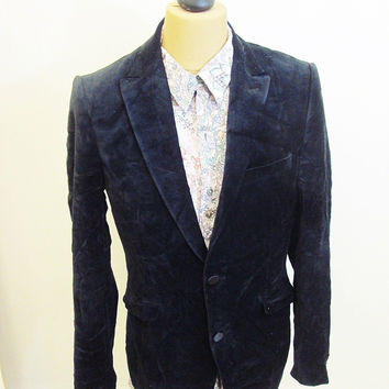 Vintage 1980s Velvet Black Big Lapel Dandy Chap Blazer Jacket Small