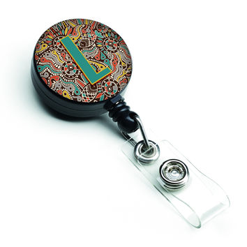Letter L Retro Tribal Alphabet Initial Retractable Badge Reel CJ2013-LBR