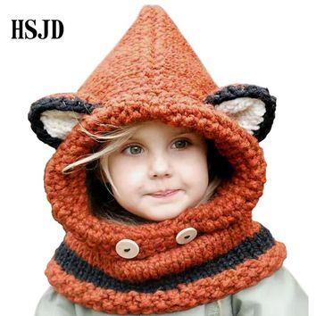 Baby Girls Handmade cartoon animal Hats Cute Fox Scarf Hats wrap Kids Children Winter Caps Multifunction Warm hats Kid Gifts