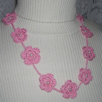 Think Pink Flower Crocheted Necklace by MarKateLiz on Etsy