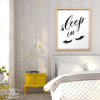 Bedroom wall decor, sleep in, let's sleep in, eyelashes print, fashion print, funny art, eyelashes art, room decor, home decor