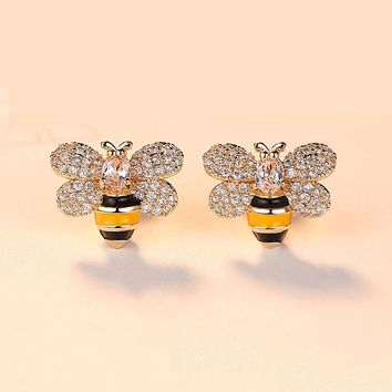Fashion Cute Bee Stud Earring For Women Unique Design Gold Micro Pave CZ Zircon Animal Earrings Party Gifts Dropshipping