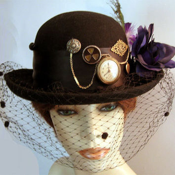 Vintage Womens Derby Riding Hat Steampunk Wool Felt w Veil Halloween